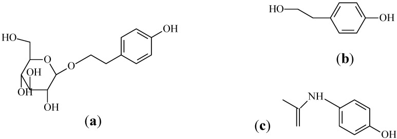Chemical structures of ( a ) salidroside; ( b ) p- tyrosol; and ( c ) paracetamol (IS).