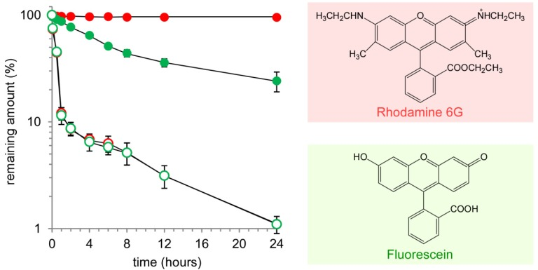 Time course of the remaining amounts of <t>rhodamine</t> 6G (red) and fluorescein (green) in a dialysis cartridge.