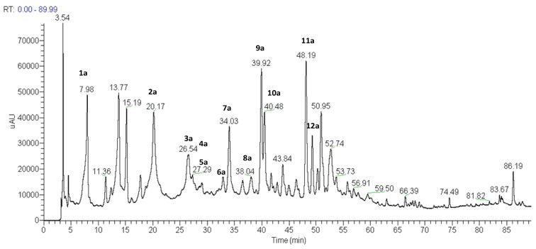 Total ion current chromatogram of the methanol extract of scapes of P. chiquitensis <t>(HPLC-ESI-IT-MS</t> n negative ion mode). For conditions, see experimental part.