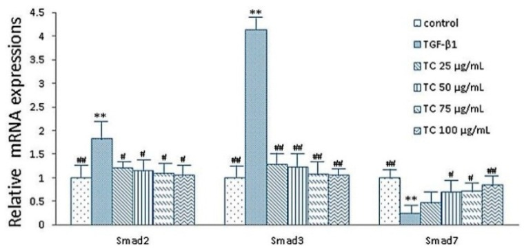 Effects of CPhGs on the expressions of smad2, smad3 and smad7 in HSC (RT-PCR assay). Data were expressed as mean ± SD. ** p