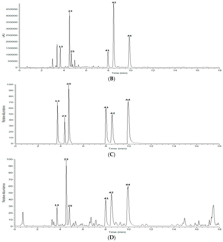 UHPLC-DAD-LTQ-Orbitrap analysis of CGAs in Kuding tea (2 μL): UHPLC-DAD chromatogram of reference standards ( A ) and the extract ( B ) at 327 nm; the total ion chromatogram (TIC) of reference standards ( C ) and the extract ( D ) in negative mode.