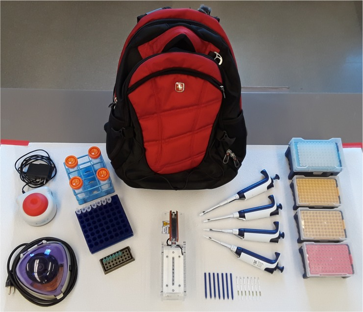 "The contents of the ""Backpack <t>PCR""</t> platform. The entire"