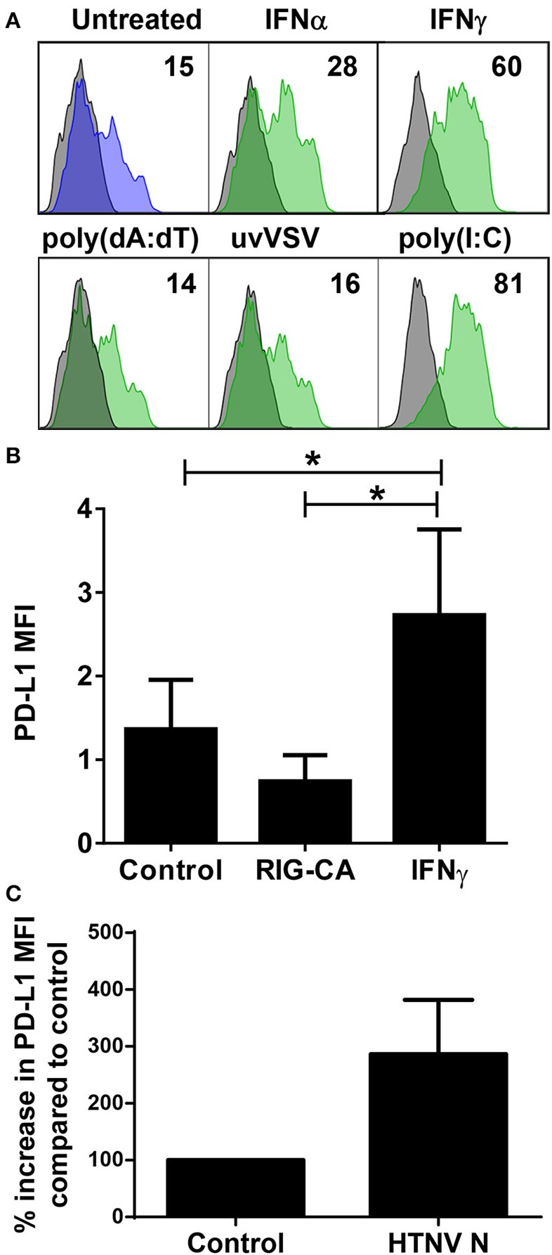 Control of PD-L1 expression by inflammatory stimuli. (A) Immature DCs were exposed to the following inflammatory stimuli before staining for PD-L1: type I <t>IFN</t> (IFN-α at 1,000 U/ml), type II IFN <t>(IFN-γ</t> at 1,000 U/ml), poly(dA:dT), UV-inactivated VSV or poly(I:C) for 24 h. The results shown are representative of three independent experiments using three different donors. (B) Huh7.5 cells (control), Huh7.5 cells permanently expressing a constitutively active form of RIG-I (RIG-CA) or Huh7.5 cells stimulated with IFN-γ at 1,000 U/ml for 24 h were stained for PD-L1 and analyzed by flow cytometry. Results are derived from three independent experiments, error bars represent the mean ± SEM ( * p