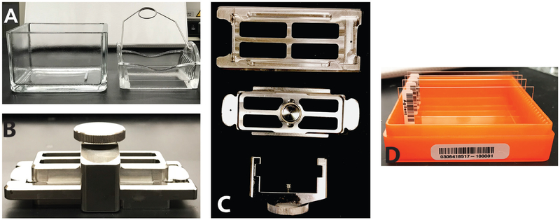 """Image of microarray wash dishes, SureHyb chamber and slide. A. Image of the wash dish with metal stir bar (left) and slide holder. B. Assembled SureHyb chamber, cover and clamp. C. Individual parts of the SureHyb assembly kit. Top is the chamber, the microarray slide sits on top of it and the cover (middle) is gently placed on top. The clamp (bottom) is then used to ensure the slide and chamber stay tightly together. D. Image of microarray slides, the visible barcodes clearly state """"Agilent"""" and are to be used for proper orientation."""