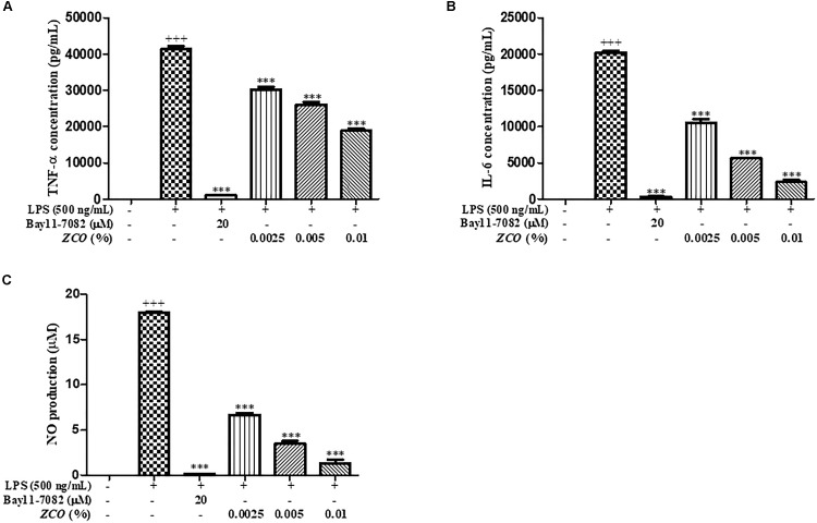 Effect of ZCO on the production of inflammatory mediators in LPS-activated RAW264.7 cells. RAW264.7 cells seeded into 48-well plate were pretreated with ZCO (0.0025, 0.005, and 0.01%) or Bay11-7082 (20 μM) for 2 h prior to addition of LPS (500 ng/mL) for 24 h. TNF-α (A) and IL-6 (B) in the supernatants was measured by ELISA and NO production (C) in the supernatants was detected by Griess reagent. Experiments were conducted in quadruplicate and expressed as mean ± SEM ( ∗∗∗ P