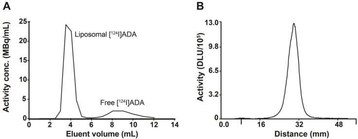 Characterization of [ 124 I]ADA loaded liposomes by size exclusion column separation and radio-TLC. (A) Elution profile of [ 124 I]ADA-loaded liposomes by PD-10 column separation. The liposomes were eluted with 25 mM HEPES buffer (150 mM NaCl, pH 7.4, 310 mOsm/kg), with a loading efficiency of 77.2%. (B) Radio-TLC peak of [ 124 I]ADA after loading into liposomes.