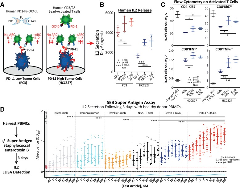 The human PD1-Fc-OX40L ARC has functional activity in vitro and ex vivo in both tumor co-culture and <t>SEB</t> super-antigen assays. a Schematic of the tumor/T cell co-culture assay. CD3+ human T cells stimulated for 48 h with suboptimal levels of CD3/CD28/IL-2, were plated on mitomycin-c treated PD-L1 low (PC3) and PD-L1 high (HCC827) tumor cells ± the PD1-Fc-OX40L ARC, for an additional 3–5 days (days 5–7 of the entire time-course). b On day 6 of the assay, culture supernatant was collected and analyzed by human IL-2 ELISA. c On days 5 (top) and 7 (bottom) of the assay, floating T cells were collected and subjected to extra- and intra-cellular flow cytometry in order to assess proliferation (Ki67) and markers of T cell activation (IFNγ TNFα). d Workflow of the SEB super-antigen assay. Total primary human <t>PBMCs</t> were harvested and treated with Staphylococcal enterotoxin B ± the PD1-Fc-OX40L ARC and benchmark antibody controls. Culture supernatants were collected 3 days later and assessed for secreted levels of IL-2 by ELISA