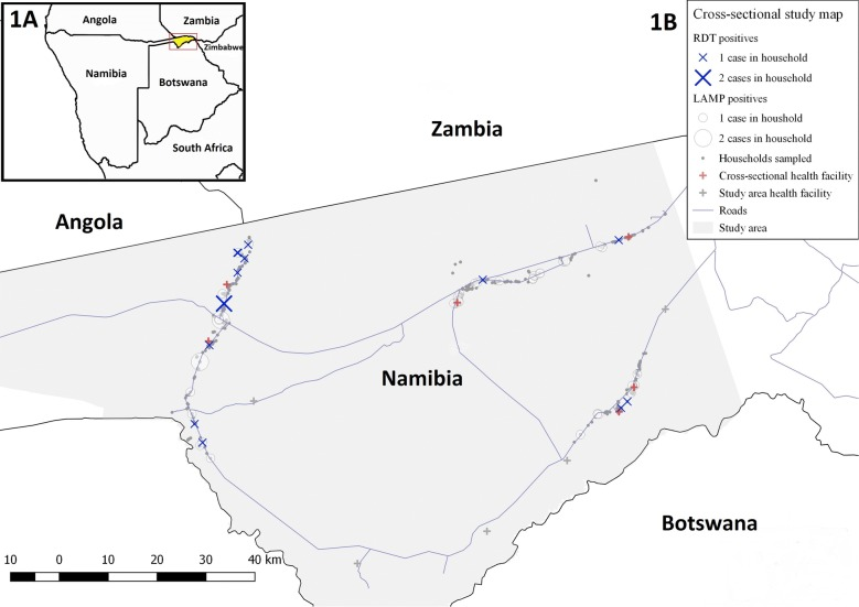 a Map of Zambezi region and study area, b spatial distribution of study participants and rapid diagnostic test (RDT) and loop-mediated isothermal amplification (LAMP) detected infections. RDT rapid diagnostic test, DBS dried blood spot, LAMP loop-mediated isothermal amplification