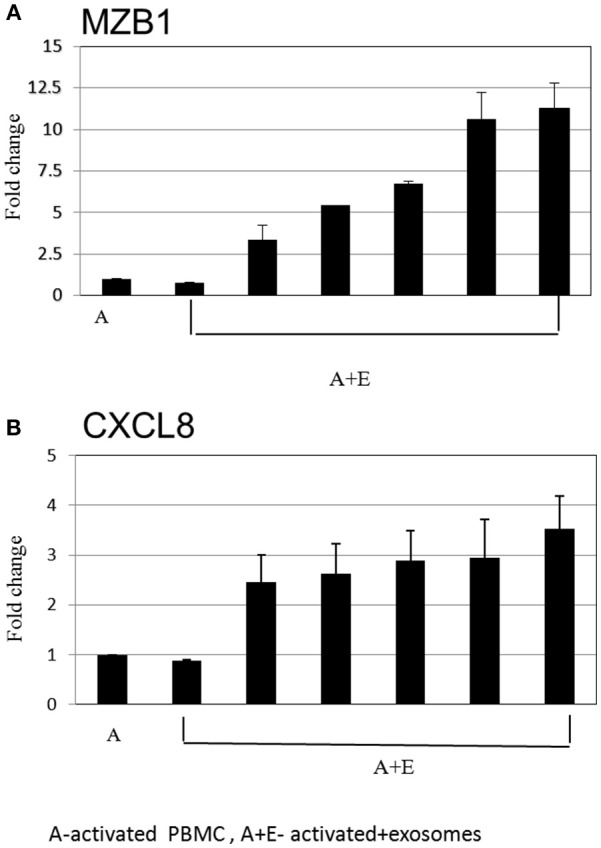 Real time PCR analysis. Expression levels of mRNA depicted for (A) MZB1 (B) CXCL8, were measured in activated B cells with or without <t>exosomes.</t> The graphs show the results of 6 exosome batches (MZB1 exosome batches 6, 8, 10, 12, 9, 3, respectively; CXCL8 exosome batches 6, 9, 10, 8, 12, 3, respectively). GAPDH was used as internal controls for targeting mRNA expression, and data are expressed as the mean of triplicate samples ± S.E.