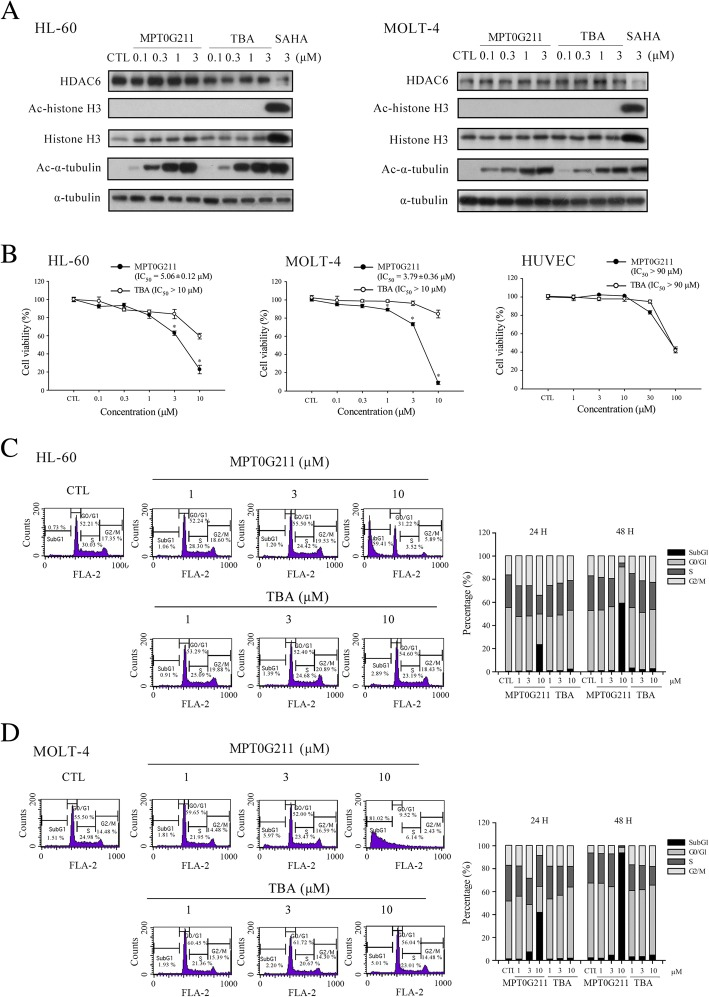 The effects of MPT0G211 on HL-60 and MOLT-4 cell growth and cell cycle progression. a Acetyl-α-tubulin and acetyl-histone 3 were detected in cells treated with MPT0G211 or tubastatin A (TBA) for 24 h. b HL-60, MOLT-4, and HUVECs were incubated with different concentrations of MPT0G211 or TBA for 48 h. Cell viability was evaluated using an MTT assay. c HL-60 and d MOLT-4 cells were treated with MPT0G211 or TBA for 48 h and analyzed by flow cytometry to assess cell cycle distribution. Data are shown as means ± standard errors of the means. * p