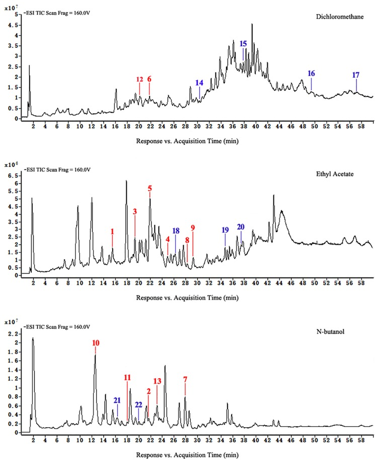 <t>HPLC-ESI-TOF-MS</t> total ion chromatograms of dichloromethane, ethyl acetate, and n-butanol of extracts from group B.