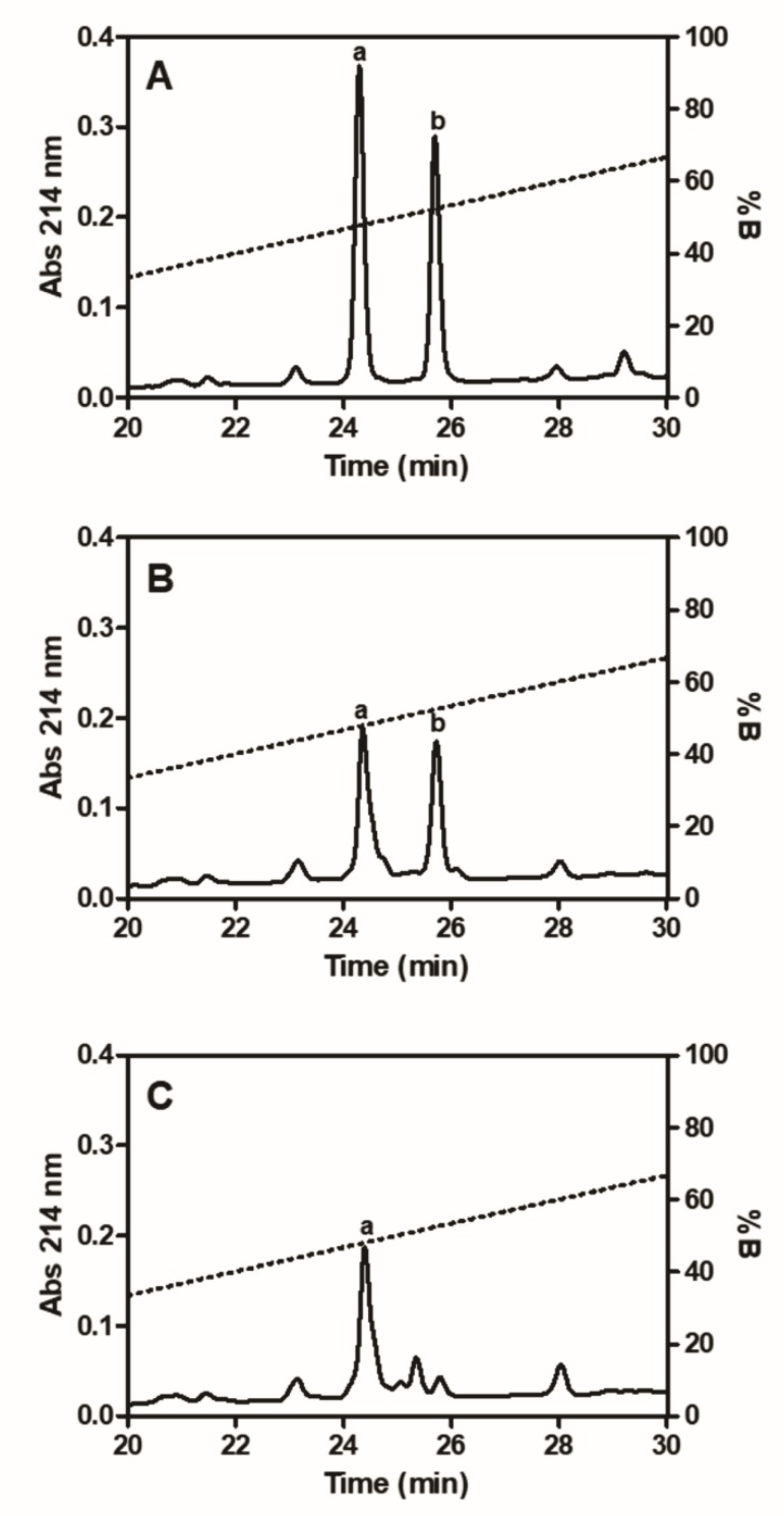 <t>RP-HPLC</t> analysis of <t>fibrinopeptides.</t> Standard fibrinopeptides A ( a ) and B ( b ), used for comparative purposes ( A ) and fibrinopeptides formed by incubating human fibrinogen (3 mg/mL) with thrombin (5 µg/mL); ( B ) or Moojase (20 µg/mL); ( C ) at 37 °C for 120 min were analyzed by reversed phase HPLC at 214 nm.