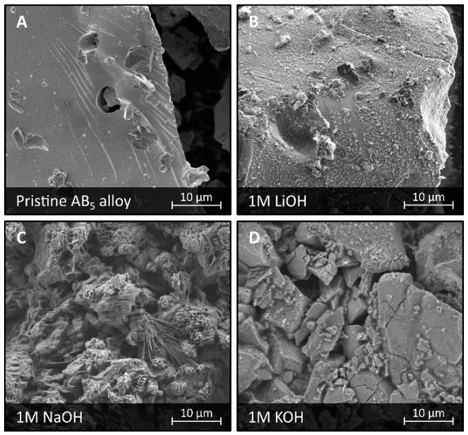SEM images of a surface of LaMm-Ni 4.1 Al 0.3 Mn 0.4 Co 0.45 alloy not subjected to any treatment ( A ), and after electrochemical treatment in 1 M LiOH ( B ), 1 M NaOH ( C ), and 1 M KOH ( D ).