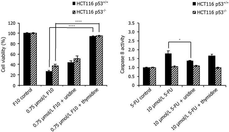 Cell viability rescue data. HCT116 p53 +/+ and HCT116 p53 −/− cells were co-treated with indicated concentrations of (left) F10 or (right) 5-FU along with indicated nucleoside (uridine = 1 mmol/L, thymidine = 80 μmol/L) for 48 h. Cell viability was determined using Promega's CellTiter-Glo ATP assay after 48 h and calculated following blank subtraction relative to respective controls. Experiments done in triplicate ± SEM. P -values calculated using GraphPad Prism ( n = 4; * P ≤ 0.05, **** P ≤ 0.0001)
