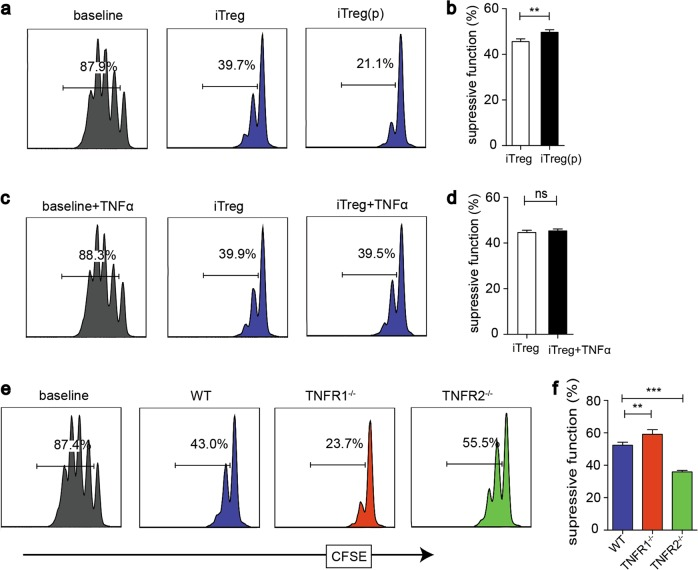 rmTNFα enhances iTreg impressive function via TNFR2 in vitro and TNFR2 mediated the Suppressive capability of iTreg in vivo. a , b iTreg were induced with or without rmTNFα. After 3 days, iTreg were co-cultured with CFSE-labeled Teffs. c , d iTreg were induced without rmTNFα, and then were co-cultured with Teffs with or without rmTNFα in the culture medium. e , f iTreg induced from WT, TNFR1 −/− , and TNFR2 −/− mice were co-cultured with Teffs. ** P ≤ 0.01; *** P ≤ 0.001, error bars denote SD. Representative data is from six independent experiments