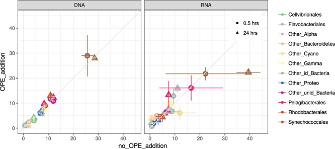 Contribution of the main phylogenetic groups classified at order level in the controls with no OPE addition (x axis) and in the OPE addition treatments (amendment with 200 ng/L final nominal concentration, y axis) to the total abundance (% total <t>16S</t> <t>rDNA,</t> left panel) and the potential activity (% total rRNA reads, right panel). The values are the average of two replicates. Error bars indicate standard deviation.