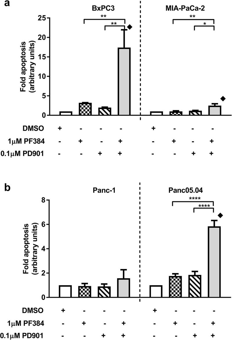 PF384 and PD901 in combination induces apoptosis in PDAC cell lines. a) BxPC-3, <t>MIA-Pa-Ca-2,</t> b) Panc-1 and Panc05.04 cells were treated as indicated for 24 hours after which fold-apoptosis was determined as caspase-3/7 activity normalised to MTT cell viability data. All data shown are the mean ± SEM for 3 independent experiments. *p ≤ 0.05, **p ≤ 0.01, ****p ≤ 0.0001, one-way ANOVA. CI
