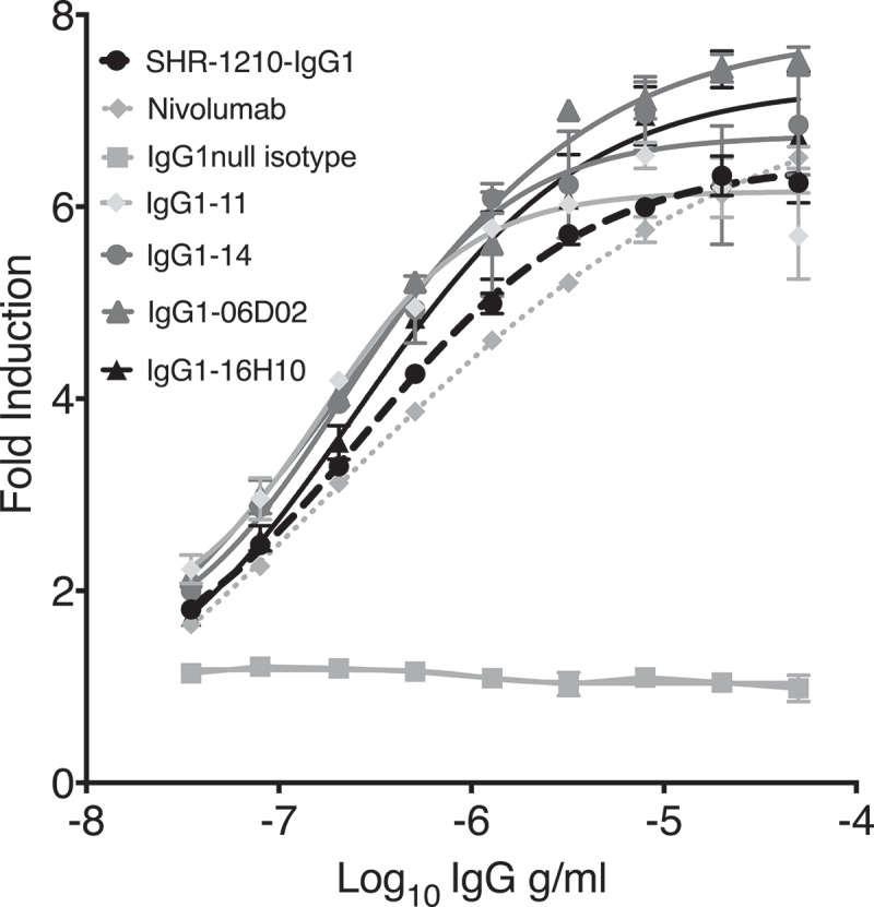 Cell-based PD1/PD-L1 antagonism assay. Analyses of antagonism of human PD1 function at the cell surface, for example lead clones IgG1-11, IgG1-14, IgG1-06D02 and IgG1-16H10 in human IgG1null format, showed that all novel clones exhibited concentration-dependent antagonistic activity, with higher relative potency in comparison to both SHR-1210-IgG1 and IgG4 nivolumab analog.