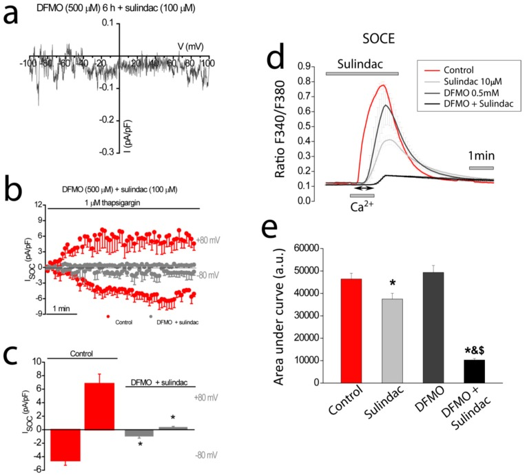 Effects of combination DFMO and sulindac on I SOC and SOCE in HT29 cells. ( a ) I–V relationship and ( b ) averaged time course of I SOC HT29 cells exposed to 500 µM DFMO plus 100 µM sulindac for 6 h ( n = 4–12). ( c ) Bar graphs are averages of I SOC measured after 5 min of stimulation with 1µM thapsigargin for control cells and cells exposed to DFMO plus sulindac (mean ± SEM of 4–12 separate experiments, * p