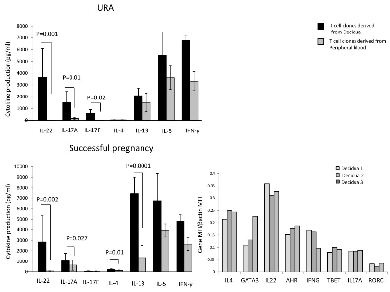 Cytokine production by CD4+ T cell clones derived from decidua of those experiencing successful pregnancy and URA and <t>mRNA</t> expression of cytokines and transcription factors in decidual biopsies of successful pregnancy. CD4+ T cell clones were generated from decidual biopsies, and peripheral blood was obtained from those experiencing successful pregnancy and those experiencing unexplained recurrent abortion (URA) (Experiment 1 in Section 4.3 ). IL-4, IL-13, IL-5, <t>IL-17A,</t> IL-17F, IL-22, and IFN-γ were measured in the supernatant of the CD4+ T cell clones by a multiplex bead-based assay. The statistical analysis was performed with the Wilcoxon test. The determination of mRNA level for IL-4, GATA-3, IL-17A, ROR-C, IL-22, AHR, T-bet, and IFN-γ in three biopsies of decidua from three pregnant women (with successful pregnancy) was performed by Quantigene 2.0.