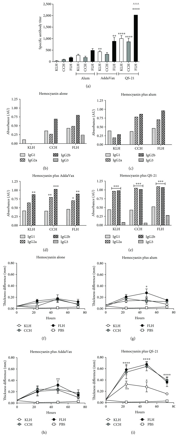 Specific humoral and cellular immune responses in C57BL/6 mice immunized with hemocyanins in combination with adjuvants. Groups of three female C57BL/6 mice were immunized subcutaneously on days 1 and 16 with one of the following treatments: 50 μ g of KLH, CCH, or FLH alone or in combination with 100 μ g of alum or 10 μ g of QS-21 in a 1 : 1 (vol/vol) ratio with AddaVax, all in a total volume of 100 μ l of PBS (vehicle). A serum sample was taken from each animal on day 37 after the second immunization for analysis by indirect ELISA. (a) Total anti-hemocyanin IgG titers in mouse sera. Values are presented as means ± SEM. The anti-hemocyanin IgG titers for each hemocyanin alone were compared by one-way ANOVA with the same hemocyanin in combination with an adjuvant. ∗∗∗∗ P