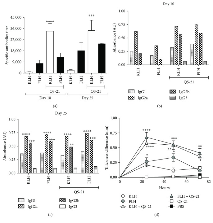 Humoral and cellular immune responses of the mice from the prophylactic bioassay utilizing the oral cancer orthotopic model consisting of C3H/He mice challenged with the AT-84 E7 Luc cell line. Groups of five female C3H/He mice were immunized with one of the following treatments: 100 μ g of KLH or FLH, 50 μ g of KLH or FLH plus 10 μ g of QS-21, and 10 μ g of QS-21 or 100 μ l of <t>PBS.</t> At 10 and 25 days, serum samples were taken to determine the titers of <t>IgG</t> subclasses by indirect ELISA. DTH determination was performed on day 15 of the bioassay. (a) Total anti-hemocyanin IgG titers in mouse sera. Data are shown as means ± SEM. Anti-hemocyanin IgG titers for each hemocyanin alone were compared by one-way ANOVA with the same hemocyanin in combination with QS-21 at day 10 and at day 21. ∗∗∗∗ P