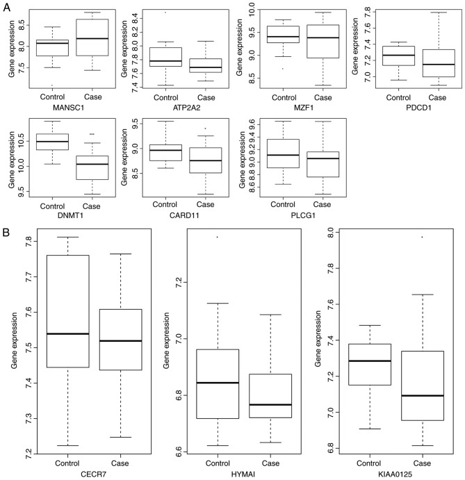 Validation of the expression of selected DEmRNAs and DElncRNAs between patients with AS and the normal controls in the GSE25101 dataset. The x-axis presents the AS and normal control groups and the y-axis presents the expression levels. (A) The selected DEmRNAs and (B) The selected DElncRNAs. AS, ankylosing spondylitis; DEmRNA, differentially expressed mRNA; DElncRNA, differentially expressed long non-coding RNA; CARD11, caspase recruitment domain-containing protein 11; DNMT1, DNA methyltransferase 1; PDCD1, programmed cell death 1; PLCG1, phospholipase Cγ1; MANSC1, MANSC domain containing 1; ATP2A2, adenosine triphosphatase sarcoplasmic/endoplasmic reticulum Ca 2+ transporting 2; MZF1, myeloid zinc finger 1; CECR7, cat eye syndrome chromosome region candidate 7; HYMAI, hydatidiform mole associated and imprinted.