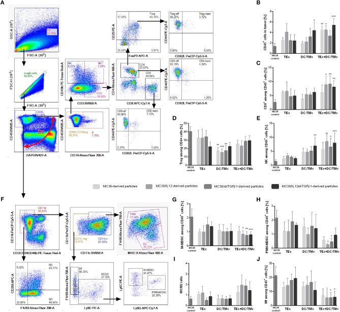 The influence of immunotherapy on the immune landscape in MC38 tumor nodules. (A,F) Schemes of multiparameter flow cytometric analyses showing the way of distinguishing lymphoid (A) or myeloid (F) cell subpopulations. (B) The percentage of leukocytes in tumor nodules. (C–E,G,H,J) Percentages of effector or suppressor cell subpopulations which underwent changes during therapy. (I) The M1/M2 ratio showing changes in polarization of tumor-infiltrating macrophages occurring during therapy. To calculate the mean ± SD, 6–8 mice per group were analyzed. The differences between the groups were estimated using the nonparametric Kruskal-Wallis test followed by Dunn's multiple comparison test (* p