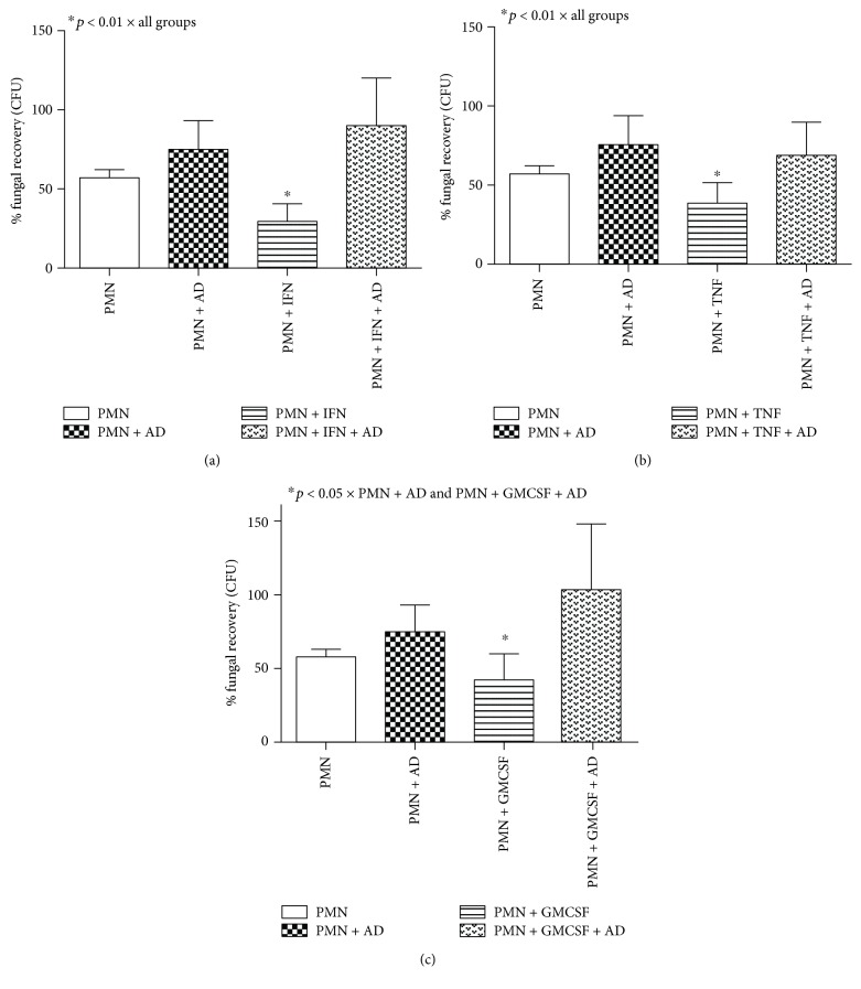 Percentage of fungal recovery by colony-forming unit (CFU) analysis of neutrophil (PMN) cultures treated or not with IFN- γ (a), TNF- α (b), and GM-CSF (c) for 18 hours in the presence or absence of the anti-Dectin-1 monoclonal antibody (AD) and challenged with Pb265 for 4 hours. Data are expressed as the mean of 8 healthy volunteer donors tested. Statistical significance between groups is indicated.