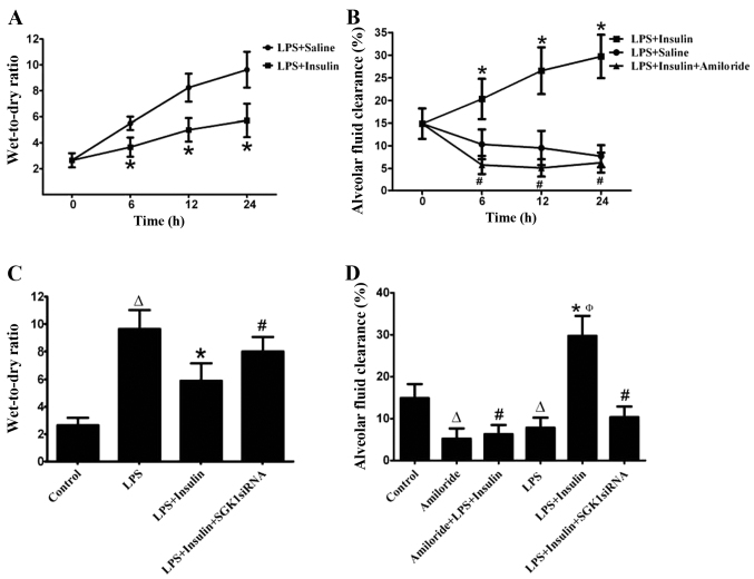 Effect of exogenous insulin on pulmonary edema and alveolar fluid clearance in mice with LPS-induced lung injury (n=6 per group). (A) Wet-to-dry ratio and (B) alveolar fluid clearance at 0, 6, 12 and 24 h in the LPS-induced lung injury group. (C) Wet-to-dry ratio and (D) alveolar fluid clearance at 24 h in the LPS-induced lung injury group. Albumin solution containing amiloride (5×10 −4 M) was injected into the alveolar spaces 6 h after LPS administration. Data are presented as the mean ± standard error of the mean. Δ P