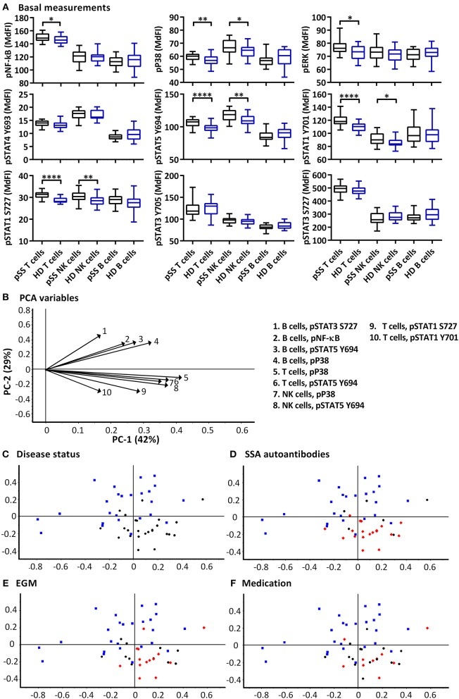 Basal phosphorylation profiles in B cells, T cells and NK cells of pSS patients differ compared to healthy controls. Basal phosphorylation levels of NF-κB, P38, ERK1/2, STAT4 Y693, STAT5 Y694, STAT1 Y701, STAT1 S727, STAT3 Y705, and STAT3 S727 were analyzed by flow cytometry in T cells, B cells and NK cells are given in (A) . Comparisons of phosphorylation levels (MdFI) between healthy donor (blue) and pSS patient (black). Comparisons between pairs were done using an Unpaired Mann-Whitney test. Graphs show the median, 25–75 percentiles and minimum and maximum. Differences were considered statistically significant when p ≤ 0.05, with significance indicated as * ≤ 0.05, ** ≤ 0.01, and **** ≤ 0.0001. PCA analysis of the profiles is given in (B–F) , disease status is highlighted in (C) , SSA autoantibody positivity in (D) , presence of EGM in (E) , and medication (DMARDs or corticosteroids) use in (F) , with healthy donors, blue squares; pSS patients, black circles; SSA+, EGM+, or medicated patients, red diamonds ( D–F , respectively). The loading plot, which contains information about the variable for the corresponding PCA is given in (B) , with variable indicated by vectors and the key to the right. Variables contributing little to the PCA are plotted around the center as denoted by the gray axis, while variables that have high contributions are plotted further from the axes. After initial calculation of principal components, the model was recalculated with only variable explaining > 50% of the variance retained. The data represents 25 healthy controls and 25 patients pooled from 13 independent experiments.