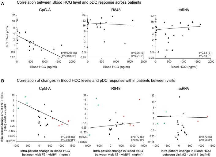 The percentage of IFNα-producing pDCs upon stimulation with CpG-A, but not R848 or ssRNA, is negatively correlated with whole blood HCQ concentrations from CLE patients. (A) Association of the percentage of IFNα-producing pDCs identified by flow cytometry from PBMC after CpG-A ( n = 22 donors), R848 ( n = 22 donors), or ssRNA ( n = 24 donors) stimulations with the HCQ concentrations in whole blood from CLE patients. Patients with non-detectable blood HCQ levels are shown at 0 ng/ml blood HCQ (B) Association of the change (ratio) between 3-month apart clinical visits in the percentage of IFNα-producing pDCs identified by flow cytometry from PBMC after CpG-A ( n = 21 donors), R848 ( n = 21 donors), or ssRNA ( n = 22 donors) stimulation with the change in the blood HCQ concentration of CLE patients. Data points from patients with increase in blood HCQ concentration > 600 ng/ml between the two visits are highlighted in red. Data points from patients with decrease in blood HCQ concentration > 500 ng/ml between two visits are highlighted in green. Statistical association was assessed using Pearson's (P) and Spearman's rank (S) correlations.