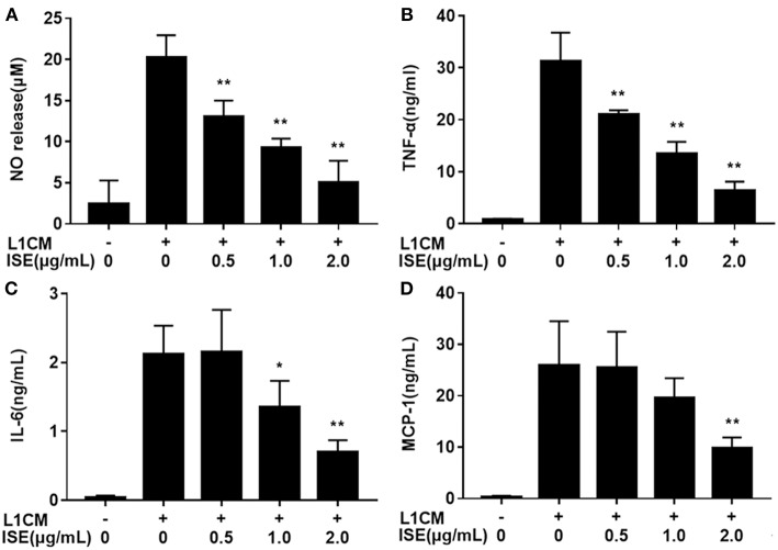"""Effects of ISE on inflammation in RAW264.7 macrophages activated by conditioned medium of hypertrophied 3T3-L1 adipocytes. RAW264.7 macrophages were pretreated with different concentrations of ISE for 1 h and then were incubated with conditioned medium of hypertrophied 3T3-L1 adipocytes (L1CM) for 24 h. Cell-free supernatants were collected to determine the concentrations of NO (A) , TNF-α (B) , IL-6 (C) , and MCP-1 (D) as described in """" Materials and Methods """" section. The values are means ± SD of 6 samples. Statistical comparisons were made with each vehicle control. * P"""