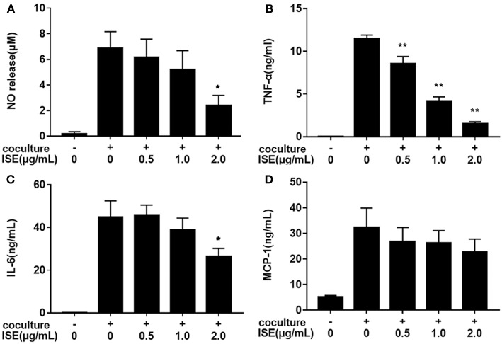 """Effects of ISE on inflammation in RAW264.7 macrophages cocultured with differentiated 3T3-L1 adipocytes. RAW264.7 macrophages were pretreated with different concentrations of ISE for 1 h and then were incubated with differentiated 3T3-L1 adipocytes for 24 h. Cell-free supernatants were collected to determine the concentrations of NO (A) , TNF-α (B) , IL-6 (C) , and MCP-1 (D) as described in """" Materials and Methods """" section. The values are means ± SD of 6 samples. Statistical comparisons were made with each vehicle control. * P"""