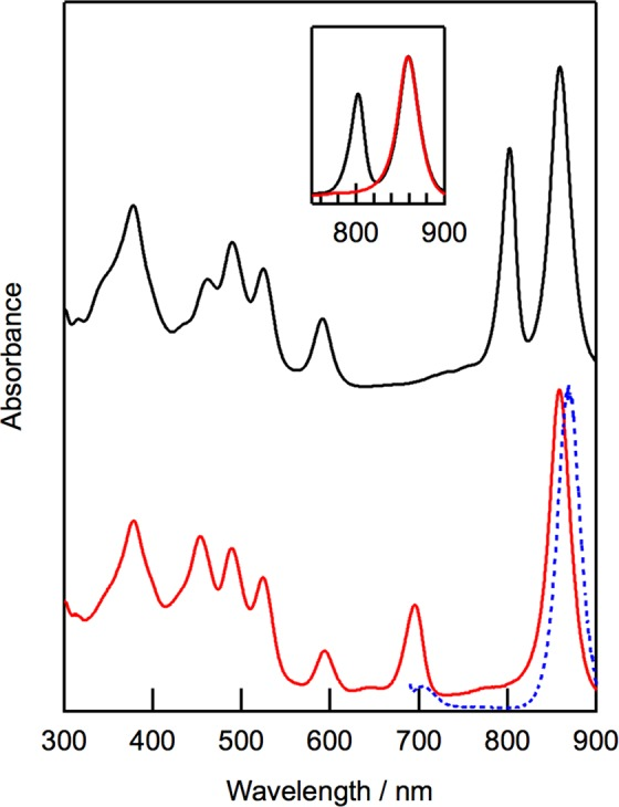 Electronic absorption spectra of native LH2 (black) and oxidized LH2 (red) in 20 mM Tris-HCl buffer containing 0.1% n- dodecyl- β -D-maltoside (pH = 8.0). Spectra were normalized at Q y peaks of B850 BChl a . Fluorescence emission spectrum of oxidized LH2 by excitation at 680 nm (blue) is shown with its absorption spectrum. Insert shows overlapped absorption spectra of native LH2 and oxidized LH2 in Q y region.