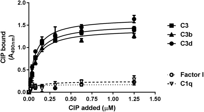 Dose-dependent binding of CIP to surface-coated C3, C3b, and C3d. Microtiter wells were coated with 100 ng of complement factors and incubated with increasing concentrations of CIP; bound protein was detected by anti-CIP polyclonal serum, followed by an HRP-conjugated secondary antibody.