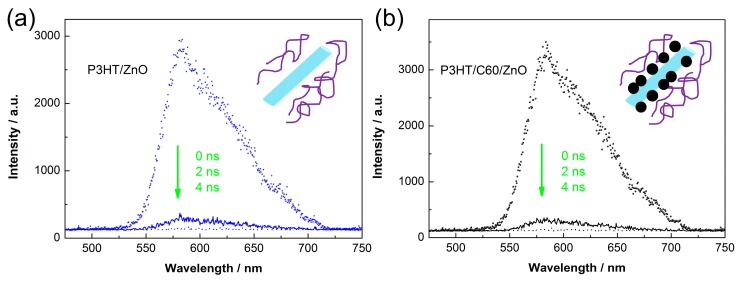 Dynamic fluorescence spectra of the ( a ) unmodified; and ( b ) <t>C60</t> modified P3HT/ZnO nanorods dispersed in CB. The blue bar, the purple line and the black ball are referred to individual ZnO nanorod, P3HT molecular chain and pyrrolidine <t>tris-acid</t> molecule.