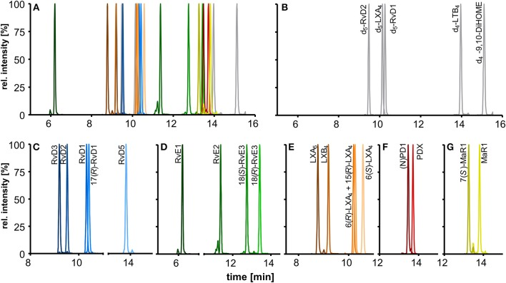 Chromatographic separation of (A) 18 SPMs (100 nM each) and (B) 5 deuterated internal standards (20 nM) covered by the method including (C) DHA derived D-series resolvins, (D) EPA derived E-series resolvins, (E) EPA and ARA derived lipoxins, DHA derived (F) protectins, and (G) maresins. Separation was carried out on an RP-18 column (2.1 × 150 mm, particle size 1.8 μm, pore size 9.5 nm) with a H 2 <t>O/MeOH/ACN/HAc</t> gradient.