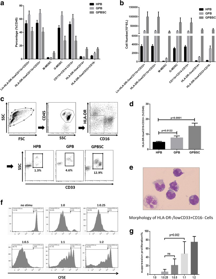 HLA-DR −/low CD33 + CD16 −  myeloid cells expanded in PB and PBSC after G-CSF administration and exerted a strong immunosuppressive effect on T cell proliferation.  a ,  b  The frequency and cell number of different kind of MDSCs and HLA-DR −/low CD33 + CD16 −  population in ten donors (H-PB, G-PB, G-PBSC) were analyzed by flow cytometry.  c  Gate strategies of HLA-DR −/low CD33 + CD16 − : FSC, forward scatter; SSC, side scatter.  d  The proportion of HLA-DR −/low CD33 + CD16 −  in the CD45 +  fraction from the ten healthy donor's HPB, GPB, and GPBSC (medians of the different groups were 4.6%, 6.5%, and 15.5% of total CD45+cells, Mann-Whitney  t  test).  e  May-Grünwald-Giemsa cytospin preparations show morphological features of HLA-DR −/low CD33 + CD16 − .  f  T cell proliferation was examined using CFSE dilution. HLA-DR −/low CD33 + CD16 −  and CD3 +  T cells from the same donor G-PBSC were co-cultured at different ratios for 4days with anti-CD3/CD28 beads. T cell proliferation was evaluated using CFSE labeling. Unstimulating T cells were negative control. The picture shows the representative results.  g  The percentage of T cells in suppression was shown in different groups. Data was compared using unpaired  t  test (ns, not significant)