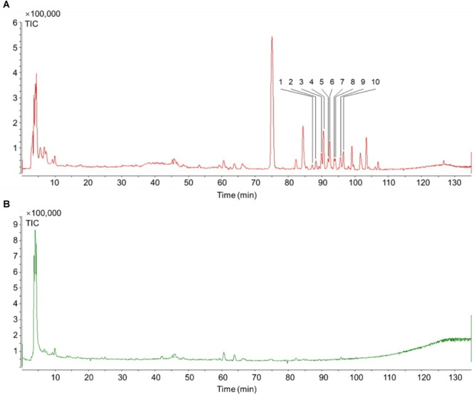 TIC of Schisandra extracts by <t>HPLC-Q-TOF-MS-MS.</t> (A) Positive ion mode MS spectra of SchisandraSchisandra chinensis; (B) Negative ion mode MS spectra of SchisandraSchisandra chinensis.
