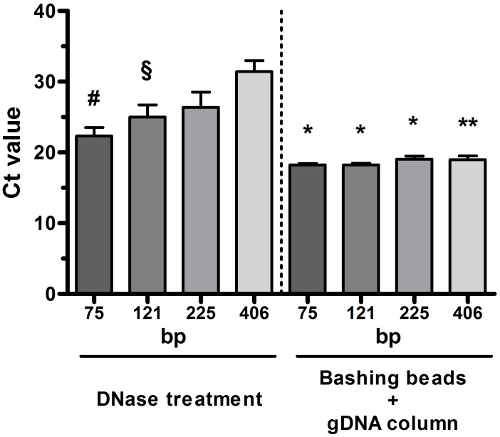 Cycle threshold (Ct) values for real-time PCR assays with different base pair (bp) long amplicons of glyceraldehyde 3-phophate dehydrogenase on RNA isolated from sputum samples. Samples were subjected either to repeated digestion process (up to 6 times) with the Turbo DNA-free kit or bead vortexing prior to RNA isolation using the RNeasy Plus Mini kit equipped with the gDNA eliminator spin column (n = 6 for each group). Error bars indicate SEM. # p
