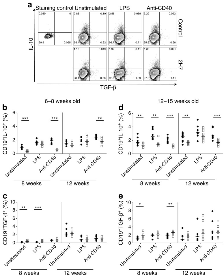 Repopulated B cells are not enriched for IL-10. B cells from the spleen were analysed for intracytoplasmic cytokines 8 and 12 weeks post treatment with control IgG (black circles) or 2H7 anti-CD20 depleting antibody (white squares) in mice aged 6–8 ( b , c ) or 12–15 weeks ( d , e ). B cells were either unstimulated or stimulated with 5 μg/ml LPS or anti-CD40. ( a ) Representative flow plots from 12 weeks post depletion. ( b – e ) Frequency of IL-10-producing B cells ( b , d ) and TGF-β-producing B cells ( c , e ) 8 and 12 weeks post depletion. Horizontal lines represent the medians. Each time point includes a minimum of seven mice, from at least two independent experiments. * p