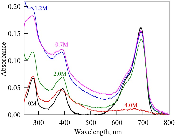 The change in the recorded absorption spectra of iRFP713 in the holoform at GdnHCl-induced unfolding in the presence of PEG-8000 at a concentration of 80 mg/ml. Numerals at the curves are the final concentration of the denaturant in the protein solutions.