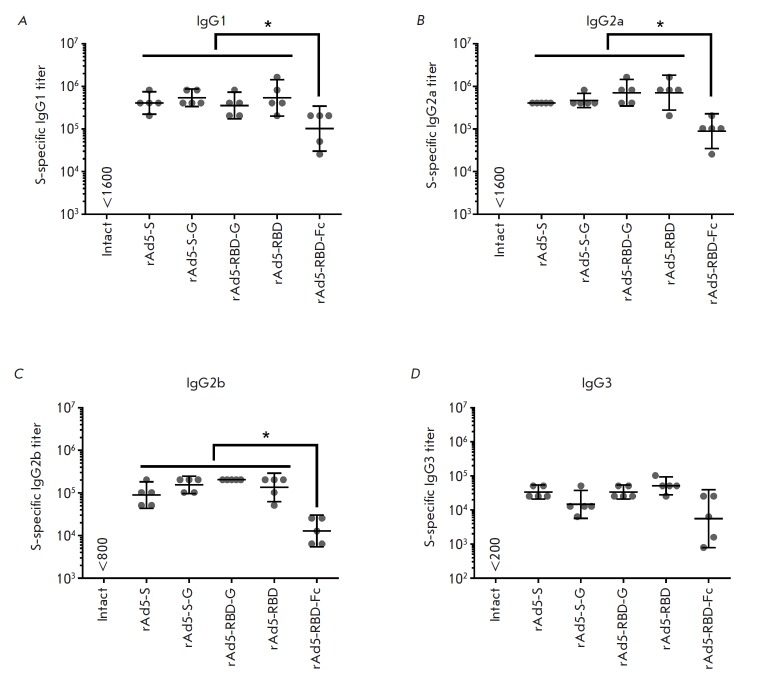 Analysis of IgG antibody isotypes in mice after immunization with rAd5 expressing different forms of the MERS-CoV S glycoprotein. The figure shows the titers of IgG1 ( A ), IgG2a ( B ), IgG2b ( C ), and IgG3 ( D ) specific to the MERS-CoV S glycoprotein in the serum samples of immunized animals. Scatter plots show the geometric mean titer (GMT) and 95% confidence interval (CI) for each group (n = 5). Asterisks indicate significant intergroup differences in IgG titers. * p