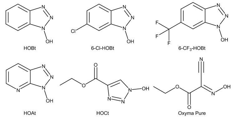 Chemical structure of the catalysts evaluated in this study. HOBt: 1-hydroxybenzotriazole, 6-Cl-HOBt: 6-chloro-1-hydroxybenzotriazole, 6-CF 3 -HOBt: 1-hydroxy-6-(trifluoromethyl)benzotriazole, HOAt: 3-hydroxytriazolo[4,5-b]pyridine, HOCt: ethyl 1-hydroxytriazole-4-carboxylate, Oxyma Pure: ethyl (2E)-2-cyano-2-hydroxyiminoacetate.