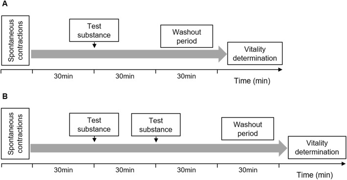 Experimental design for measurement of myometrial contractions. Test substances were added to the organ bath when myometrium strips had been contracting regularly for 30 min. When the effects of BPJ and/or atosiban were being studied ( a ) , Krebs solution (control), BPJ, atosiban, or the combination of BPJ and atosiban were added, and contractility was recorded for 30 min. When the effects of BPJ and/or nifedipine were being studied ( b ) , Krebs solution (control; two strips) or nifedipine (two strips) was added, contractility was recorded for 30 min, and then BPJ was added to all chambers. Exposure to test substances was followed by a 30 min washout step, with change of Krebs solution at 5, 10, 20 and 30 min