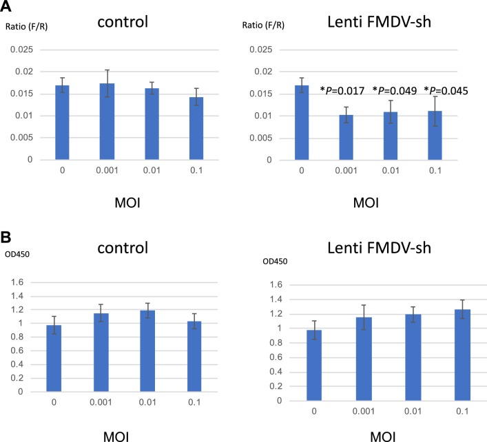 Effects of shRNA on FMDV-IRES activity. a The shRNA-expressing lentiviral vector targeting the conserved region of FMDV-IRES (Lenti-FMDV-sh) or control vector (pLL3.7 alone) was used to infect HEK293 cells at various MOIs. After 14 days, firefly (FMDV-IRES activity) and Renilla (cap-dependent translation) luciferase activities were measured. To evaluate IRES-mediated translational activity, the ratio of IRES-mediated translation to cap-dependent translation was calculated. Experiments were performed in triplicate, and error bars indicate standard deviations. Multiple t tests were performed to calculate p values between cells with and without shRNA (** p