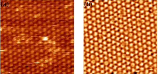 Constant-current STM images (14 × 14 nm 2 ) of the same area of the C 60 monolayer on the WO 2 /W(110) surface, I t = 0.1 nA (a) V b = 1.2 V ; (b) V b = −1.9 V .