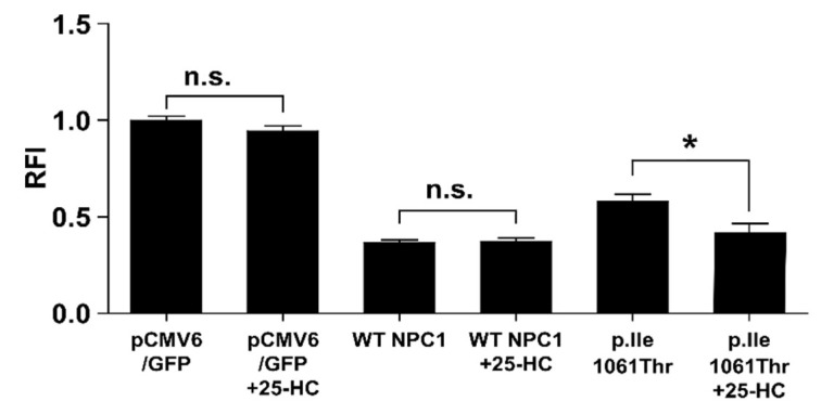 Cholesterol elimination by the p.Ile1061Thr variant can be assisted by 25-hydroxycholesterol. The black bars indicate the filipin signal of untreated or 5 µM 25-hydroxycholesterol treated CHO NPC1 cells transfected with either pCMV6 control vector or WT NPC1-GFP vector 24 h post-transfection. Values are shown as mean ± SD. Asterisks indicate statistical significance: * p