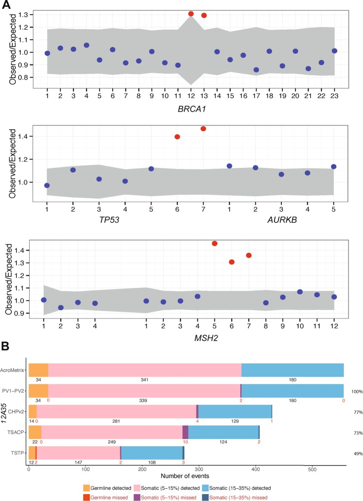 Intragenic copy number detection and comparison to commercial panels. ( A ) Control genomic DNA samples were acquired from kConFab for sensitivity testing. Three of these samples included known exon duplications in BRCA1 , TP53 and MSH2 , which were assessed by the DeCON tool. Exons are numbered along the x-axis, and those of normal copy number are presented as blue dots. Amplifications are shown in red. The TP53 and AURKB genes are on opposing DNA strands hence the presence of the latter and its exons in this Figure. A similar genetic-overlap is observed for MSH2 to the left of the panel. ( B ) A commercially available pool of synthetic oligos against a normal genomic background was also obtained. Mutations were provided at variant allele frequencies (VAF) of 5–15% and 15–35%, or at germline frequencies. Presented are the number of detected and missed variants in our PV1 and PV2 panels relative to what was expected in AcroMetrix. This was compared to three other panels [AmpliSeq Cancer Hotspot Panel v2 (CHPv2), Illumina <t>TruSeq</t> <t>Amplicon</t> – Cancer Panel (TSCAP) and TruSight Tumor Panel 26 (TSTP)], the data for which were provided by the AcroMetrix manufacturer. Percent values on the right indicate the proportion of AcroMetrix variants actually targeted by the panels.